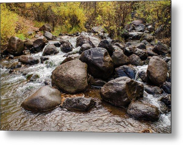 Boulders In Creek Metal Print
