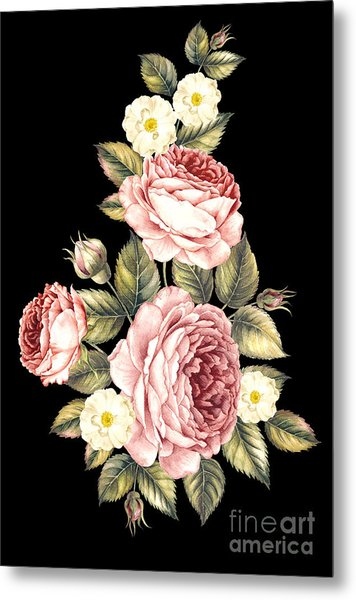 Bouquet Of Rose. Invitation Card For Metal Print