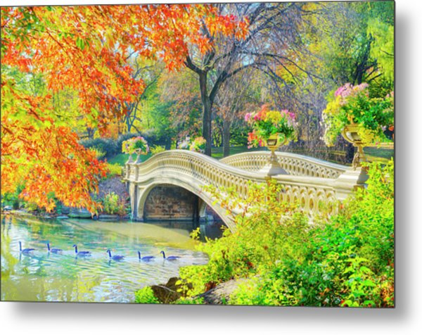 Bow Bridge, Central Park, In Autumn Metal Print by Mitchell Funk