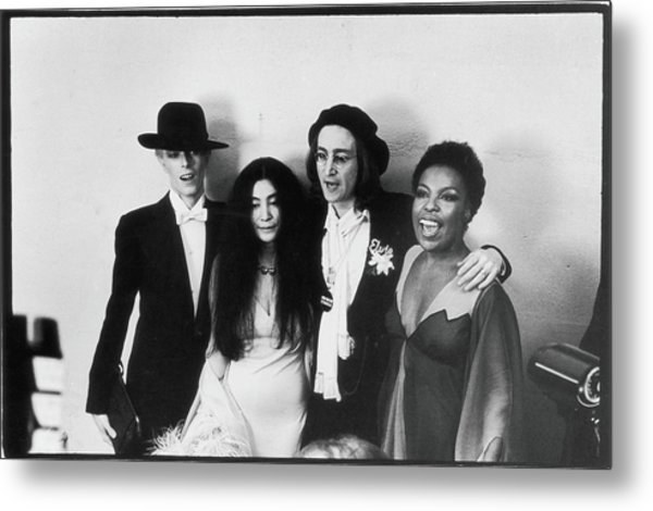 Bowie, Ono, Lennon, & Flack At The Metal Print by Fred W. McDarrah