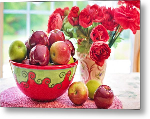 Bowl Of Red Apples Metal Print