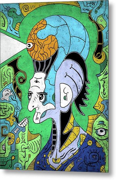 Metal Print featuring the digital art Brain-man by Sotuland Art