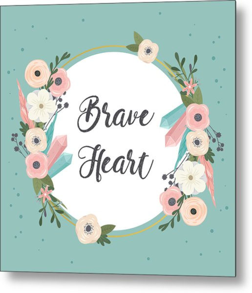 Brave Heart - Boho Chic Ethnic Nursery Art Poster Print Metal Print