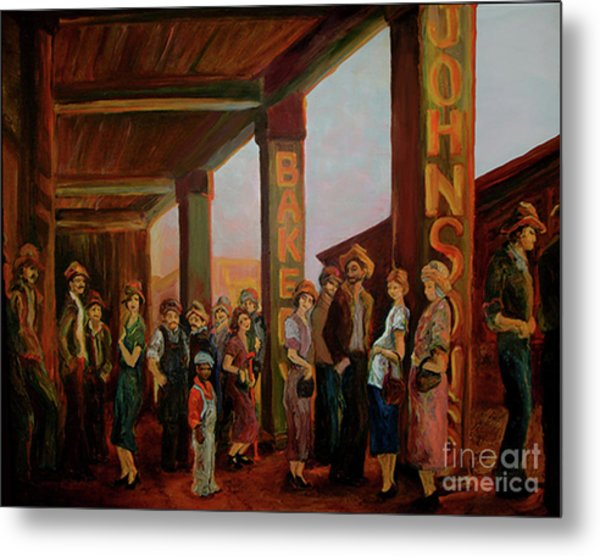 Metal Print featuring the painting Bread Line by Donna Hall