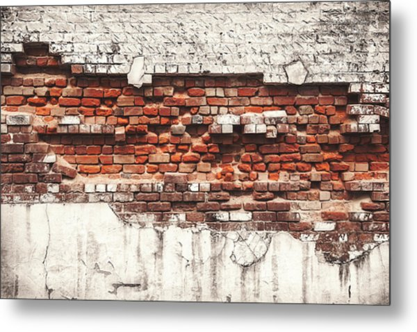 Brick Wall Falling Apart Metal Print by Ty Alexander Photography