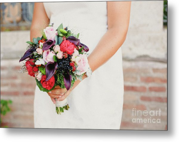 Bridal Bouquet Held By Her With Her Hands At Her Wedding Metal Print