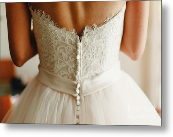 Bride Getting Ready, They Help Her By Buttoning The Buttons On The Back Of Her Dress. Metal Print