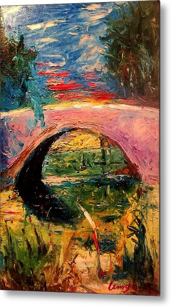 Metal Print featuring the painting Bridge At City Park by Amzie Adams