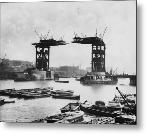 Bridge Construction Metal Print by London Stereoscopic Company