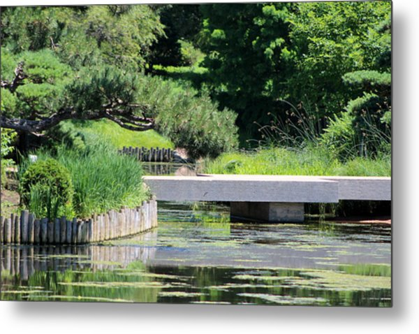 Bridge Over Pond In Japanese Garden Metal Print