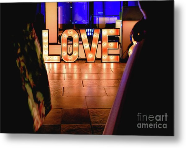 Bright Wooden Letters With Word Love In A Party Metal Print