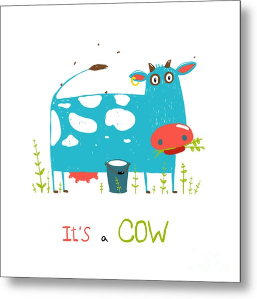 Brightly Colored Fun Cow And Milk For Metal Print