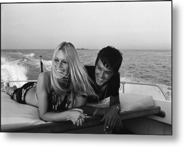 Brigitte Bardot In Saint Tropez, France Metal Print by Jean-pierre Bonnotte