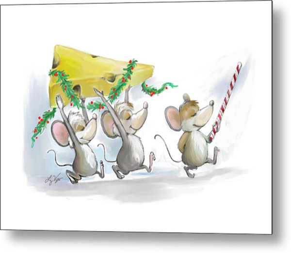 Bringing In The Christmas Cheese Metal Print