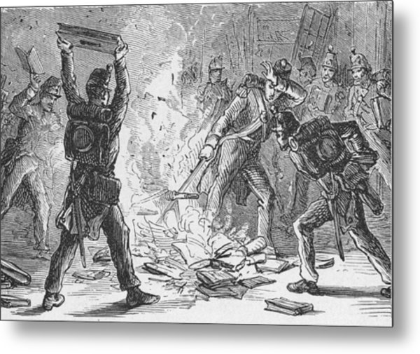 British Soldiers Burning Books In Metal Print by Kean Collection