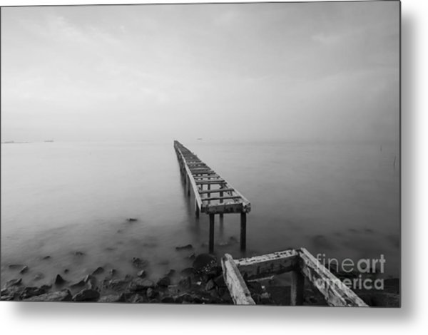 Broken Wood Bridge And Waves Crashing Metal Print by Nelzajamal