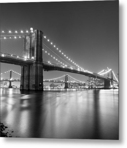 Brooklyn Bridge At Night Metal Print by Adam Garelick