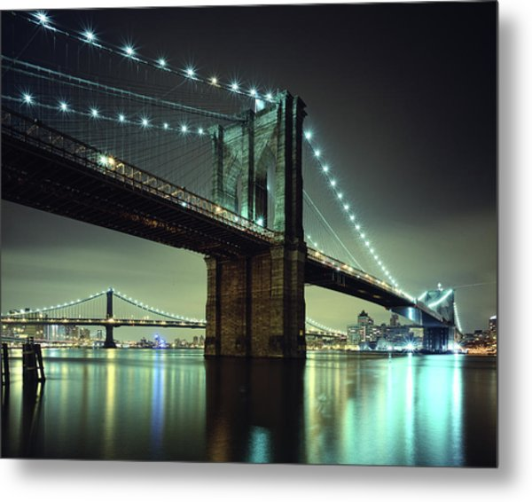Brooklyn Bridge At Night, New York City Metal Print by Andrew C Mace