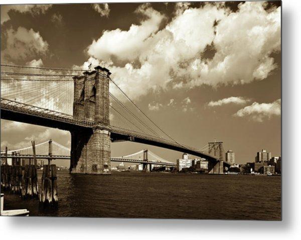 Brooklyn Bridge In Sepia Metal Print by Gcoles