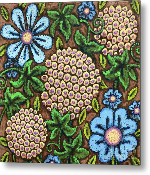 Brown And Blue Floral 3 Metal Print