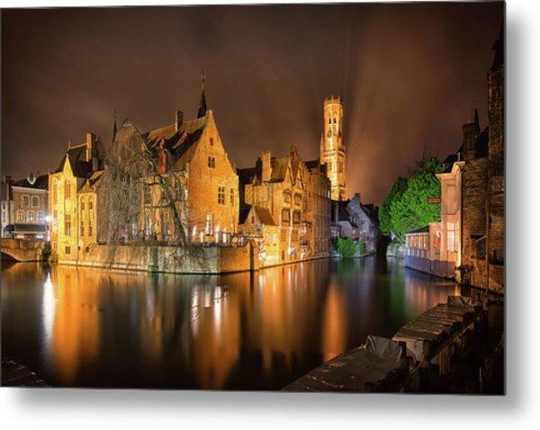 Brugge Belgium Belfry Night Metal Print