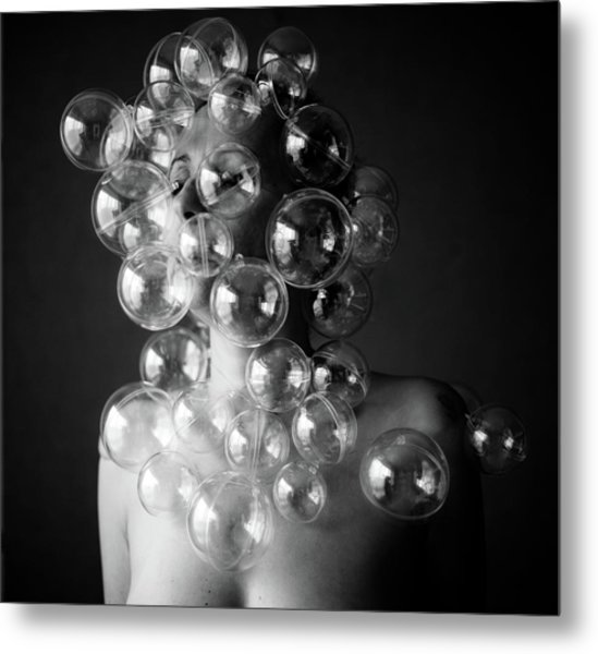 Bubble Face Metal Print