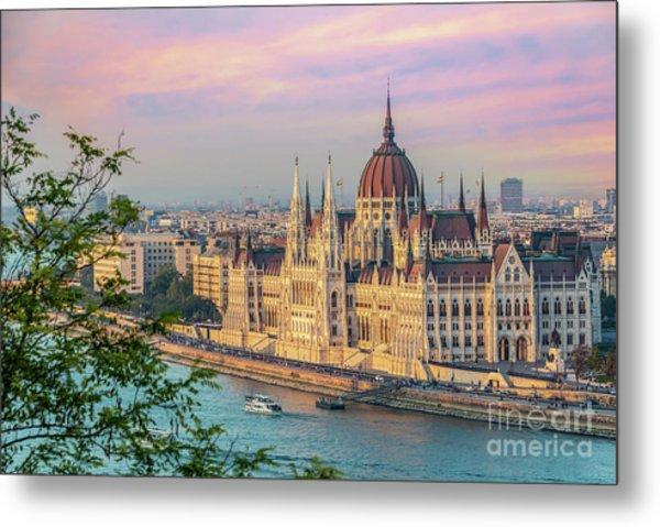 Budapest Parliament At Sunset Metal Print