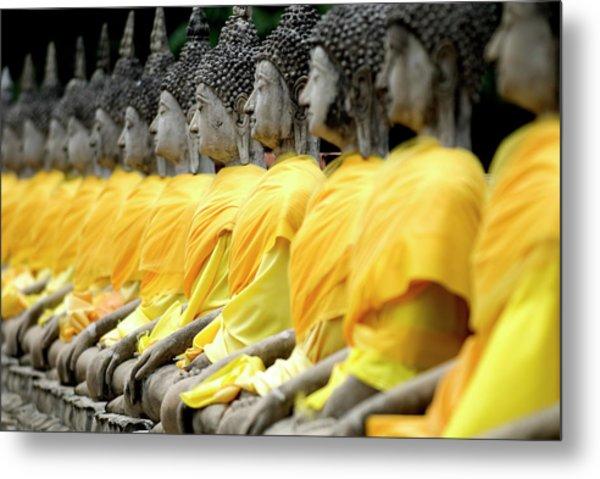 Buddha Statues, Ayuthaya, Thailand Metal Print by Rod Porteous / Robertharding