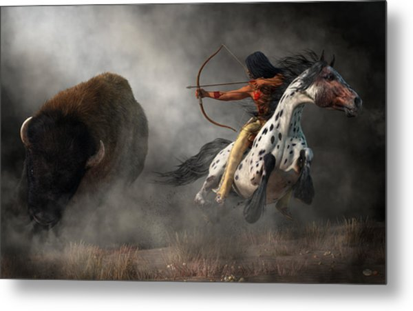 Metal Print featuring the digital art Buffalo Hunt by Daniel Eskridge