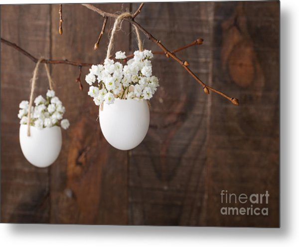 Bunch Of Of White Babys Breath Flowers Metal Print