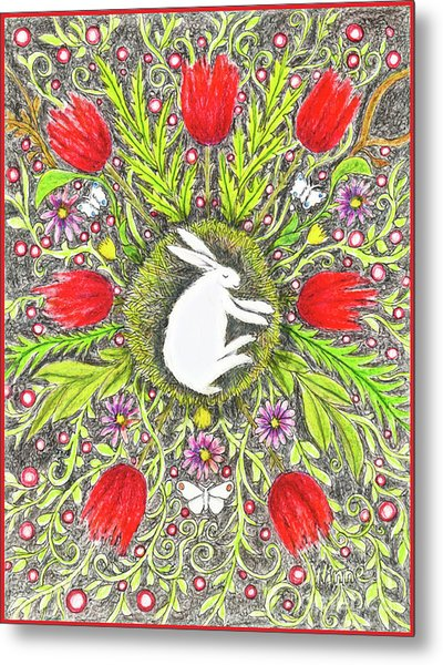 Bunny Nest With Red Flowers And White Butterflies Metal Print