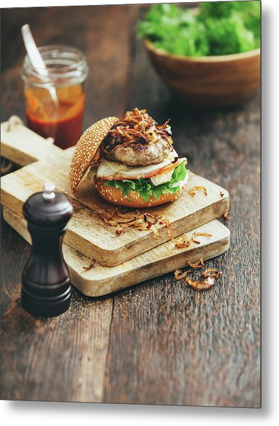 Burger With Lettuce, Tomato, Meat And Metal Print by Eugene Mymrin
