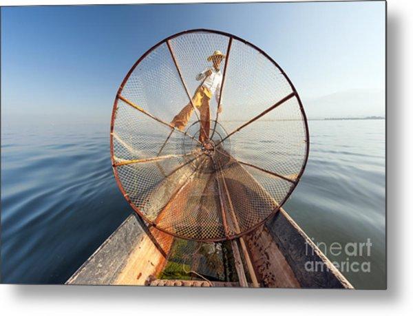 Burma Myanmar Inle Lake Fisherman On Metal Print