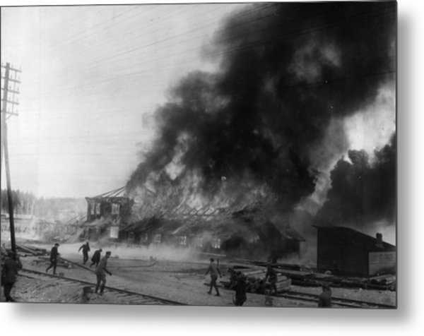 Burning Base Metal Print by General Photographic Agency