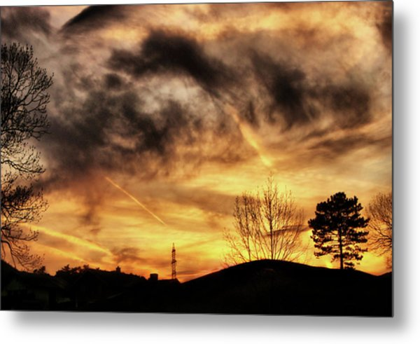 Burning Clouds Metal Print