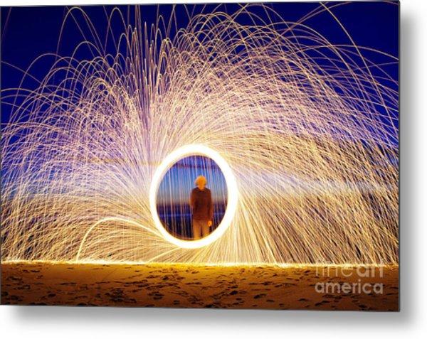 Burning Steel Wool Spinned Near The Metal Print
