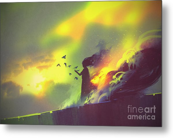 Burning Woman Standing Against Cloudy Metal Print