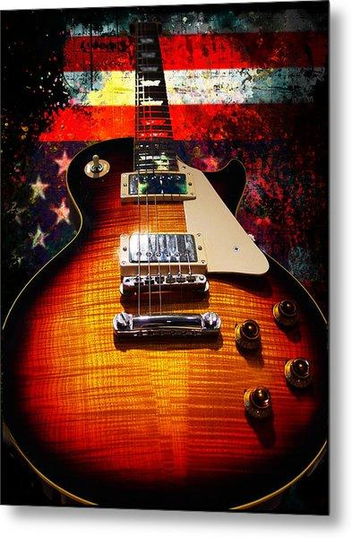Burst Guitar American Flag Background Metal Print