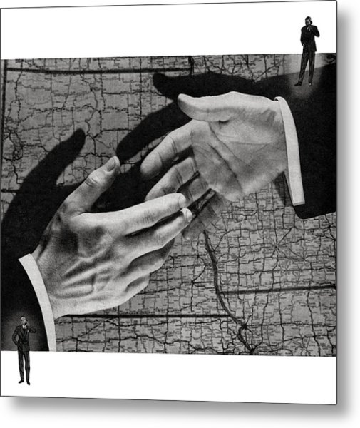 Businessmen Shaking Hands Metal Print by Graphicaartis
