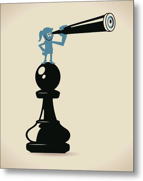 Businesswoman Standing On A Pawn Chess Metal Print by Alashi