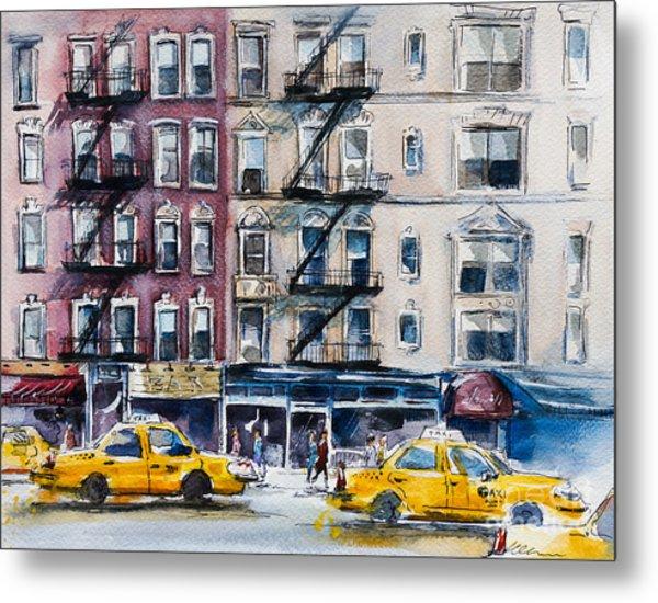 Busy New York Street. Watercolor Sketch Metal Print