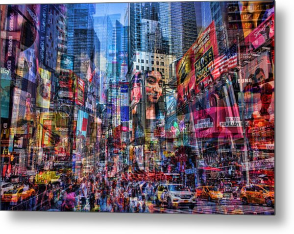 Busy Times Square Metal Print