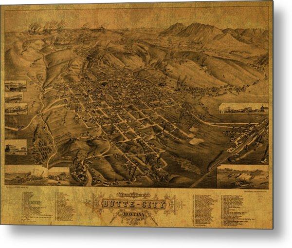 Butte Montana Vintage City Street Map 1884 Metal Print