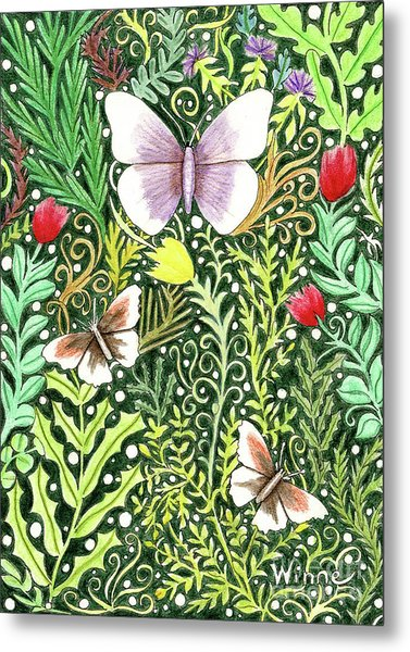 Butterflies In The Millefleurs Metal Print