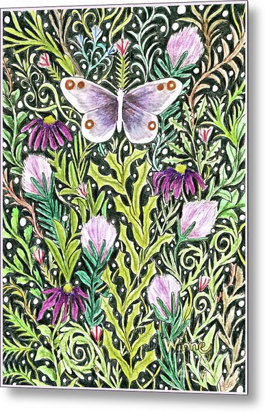 Butterfly Tapestry Design Metal Print
