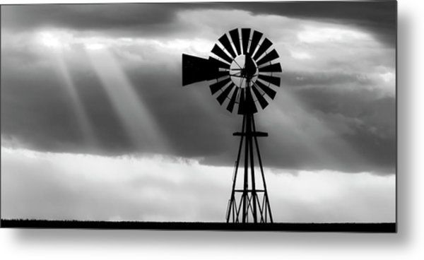 Bw Windmill And Crepuscular Rays -01 Metal Print