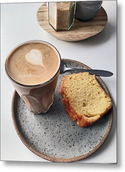 Cafe. Latte And Cake.  Metal Print