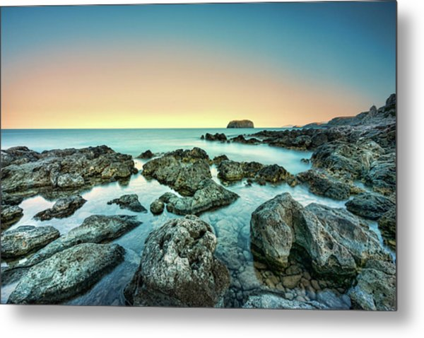 Calm Rocky Coast In Greece Metal Print