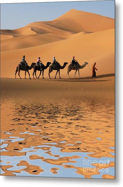 Camel Caravan Going Along The Lake The Metal Print