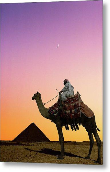 Camel Rider And Pyramid At Sunset Metal Print
